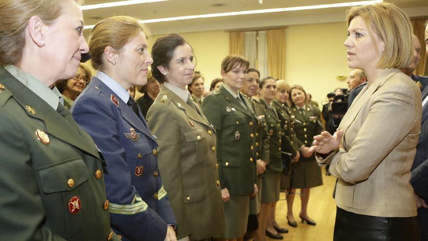 Maria Dolores de Cospedal durante la celebración del 8 de marzo del Ministerio de Defensa