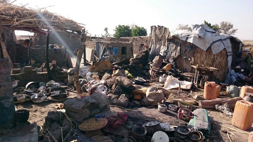 El campo de desplazados de Rann después del bombardeo | Foto: Mohammed Musoke/ MSF