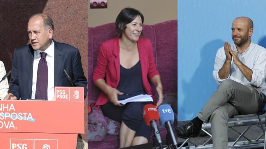 Xoaquín Fernández Leiceaga (PSdeG), Ana Pontón (BNG) y Luís Villares (En Marea)