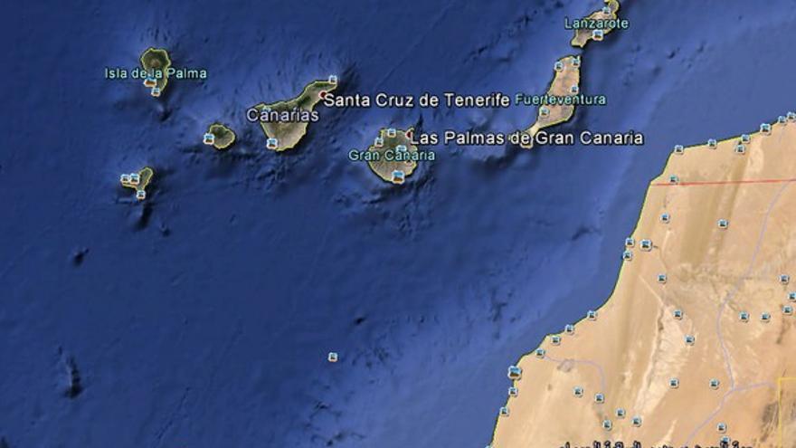 Punto donde se encontró la patera al sur de Gran Canaria. (@salvamentogob)