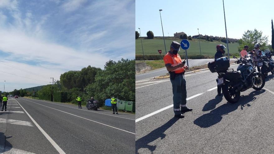 Controles de motos por patrullas de tráfico de la Policía Foral y la Guardia Civil