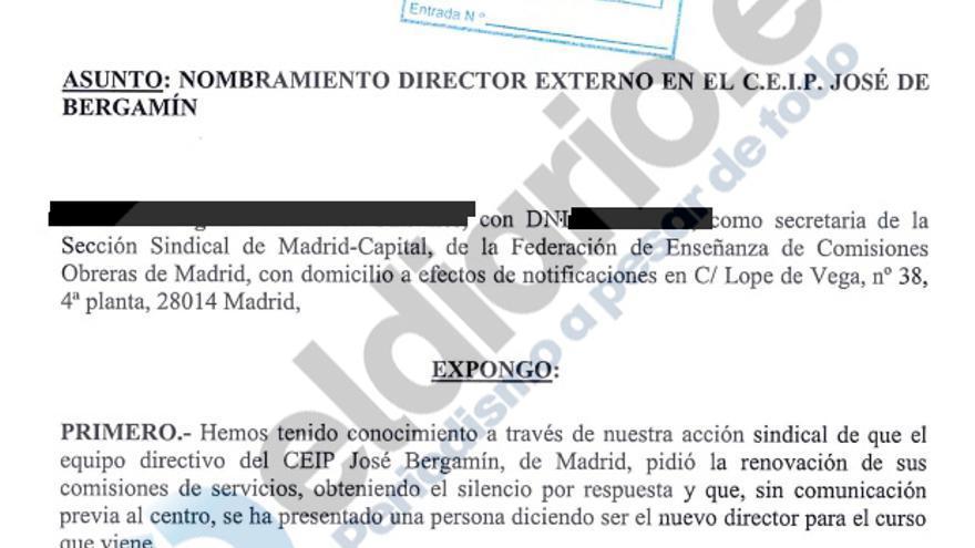 Escrito de CCOO remitido a la Consejería el pasado 7 de julio