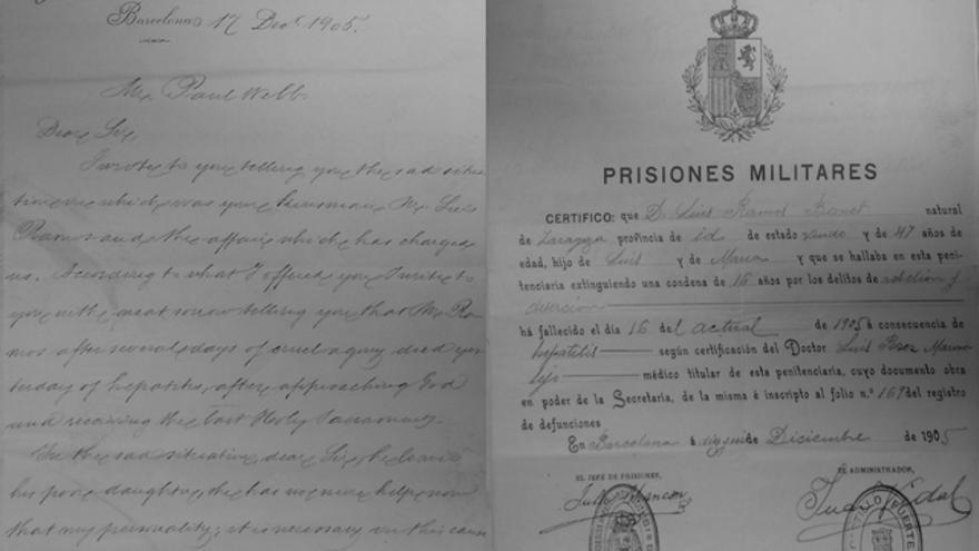 Esquela y certificado de defunción de Luis Ramos