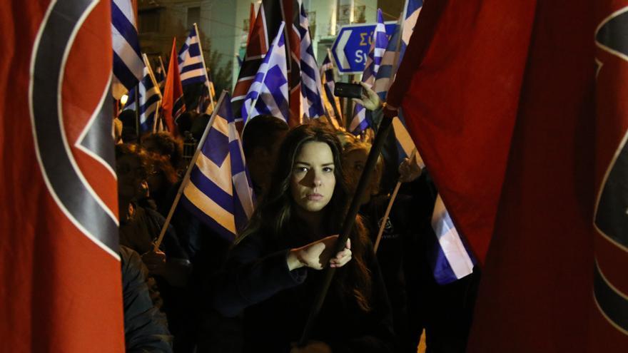 Manifestación de Amanecer Dorado en Atenas. Foto: Aitor Sáez