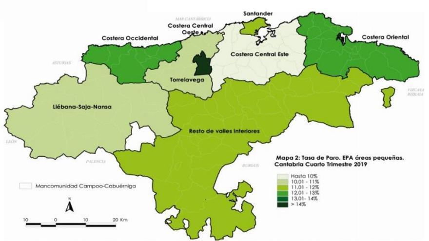 Mapa de la tasa de paro en Cantabria en el cuarto trimestre de 2019. | ICANE