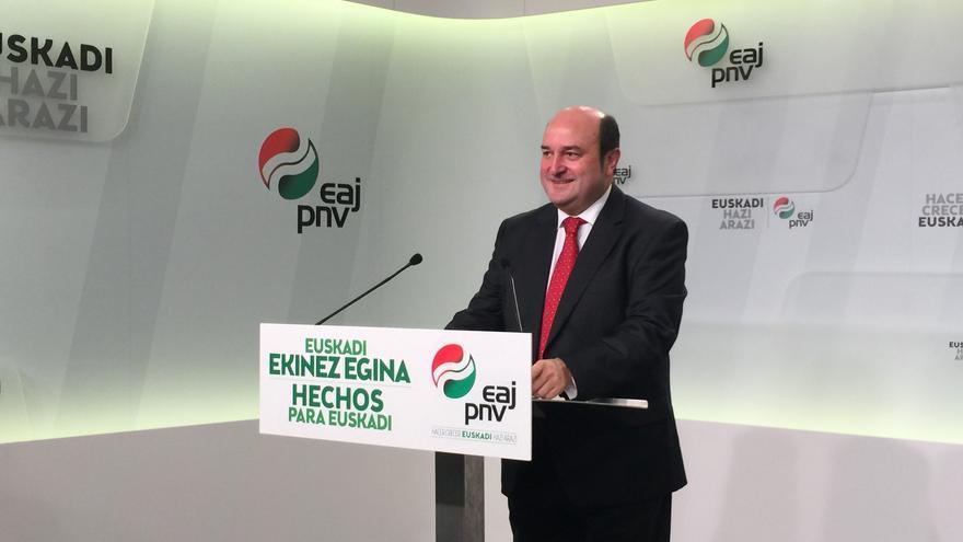 Andoni Ortuzar comparece tras la reunión de la Ejecutiva del PNV en Bilbao.