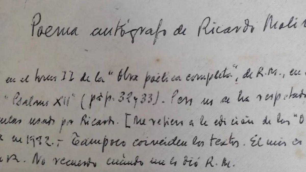 Escrito que se ha hallado sobre un posible manuscrito de Ricardo Molina.