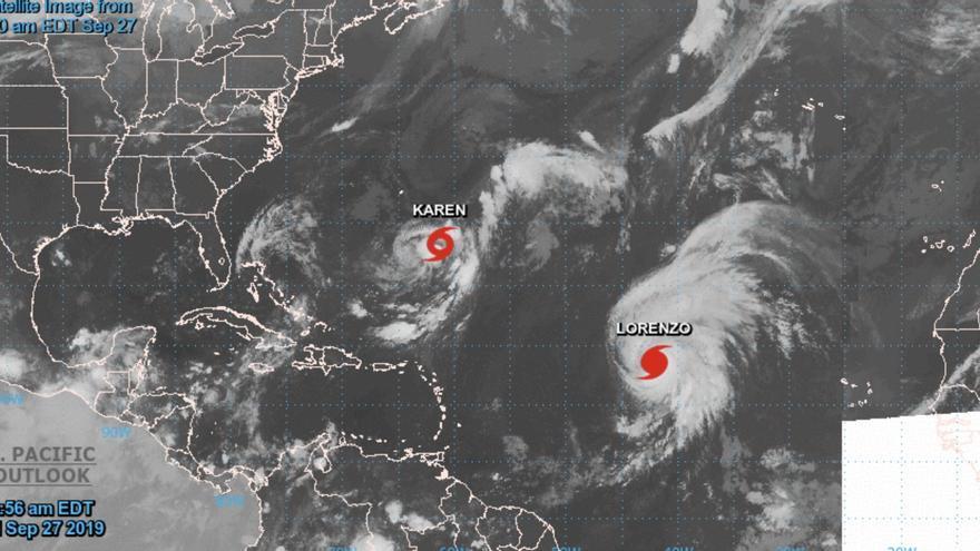 Imagen satelital de Lorenzo y Karen en el Atlántico, este viernes
