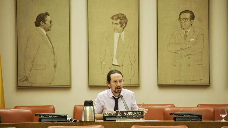 El vicepresidente segundo del Gobierno, Pablo Iglesias, en la Comisión de Derechos Sociales del Congreso.