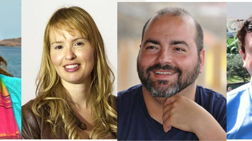 Los cuatro aspirantes a secretario regional de Podemos en Canarias.