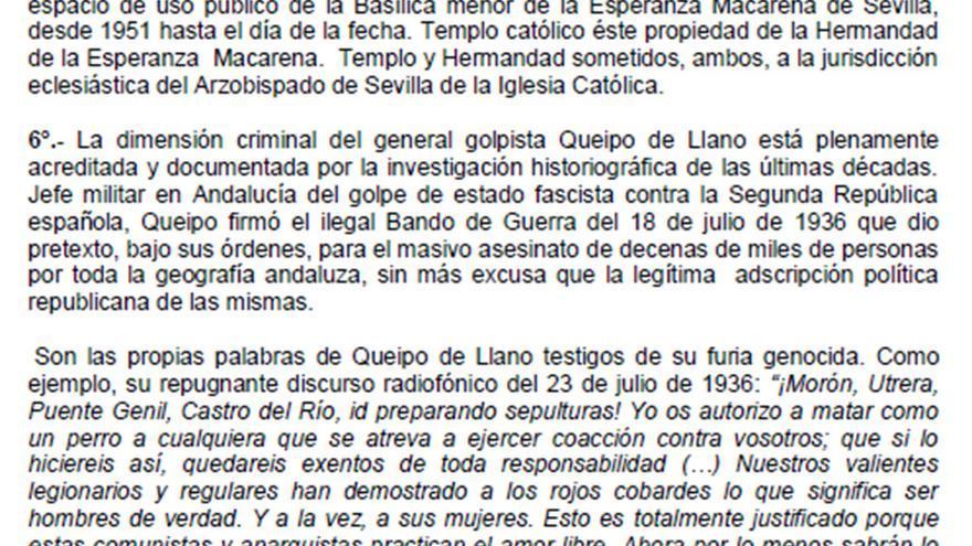 """Extracto del """"requerimiento de denuncia"""" presentado por Andalucía Republicana ante la Junta de Andalucía."""