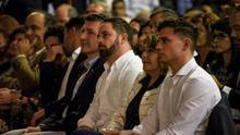 Santiago Abascal y Pascual Salvador en un mitin de Vox en Murcia/ CARLOS TRENOR