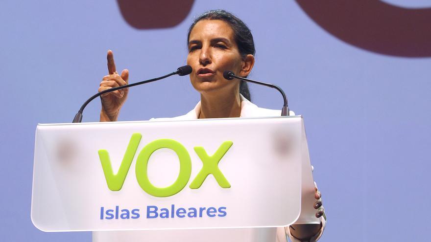 La líder de Vox en Madrid, Rocío Monasterio, durante un acto en el que celebran los años que lleva Vox en el Parlamento balear, a 27 de mayo de 2021, en Palma (Baleares)