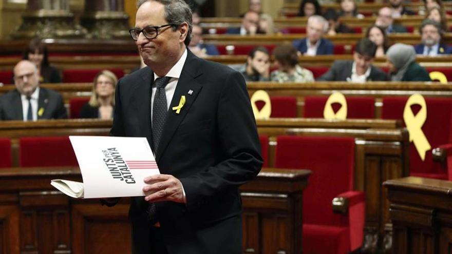El nuevo president de la Generalitat, Quim Torra, antes de su discurso ante el Parlament de Catalunya.