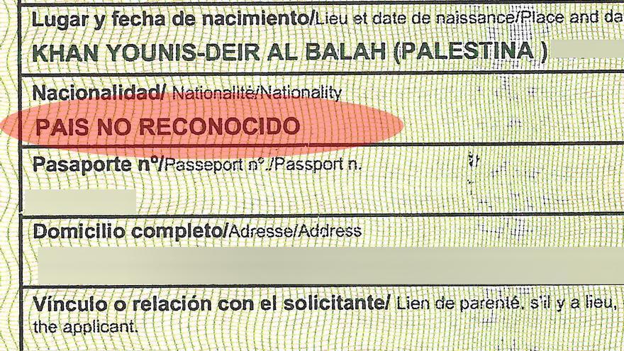 Imagen de un documento español donde no se reconoce Palestina.