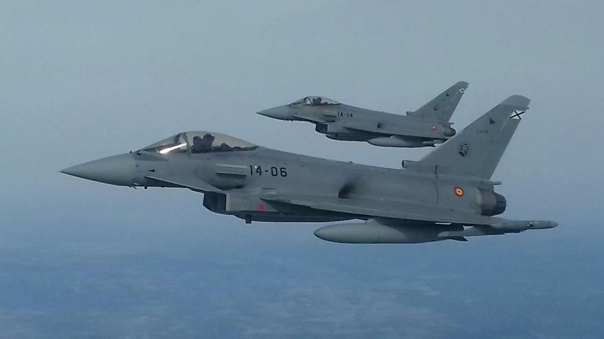 Una patrulla de los Eurofighter españoles del Ala 14 en un ejercicio.