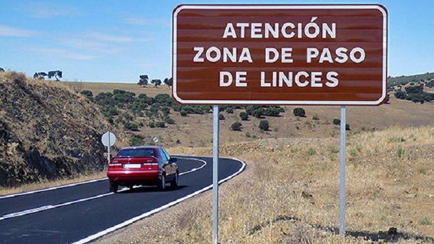 Cartel en una carretera que advierte del paso de animales
