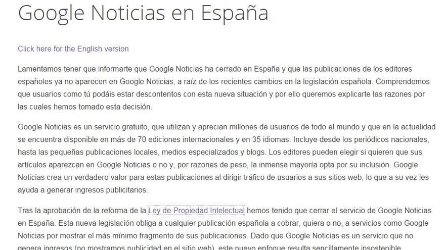 Explicación de Google sobre el cierre del servicio de noticias en España