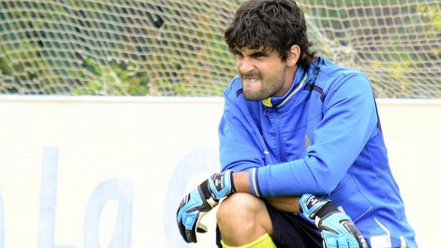 Mariano Barbosa durante un entrenamiento con la UD (udlaspalmas.es).