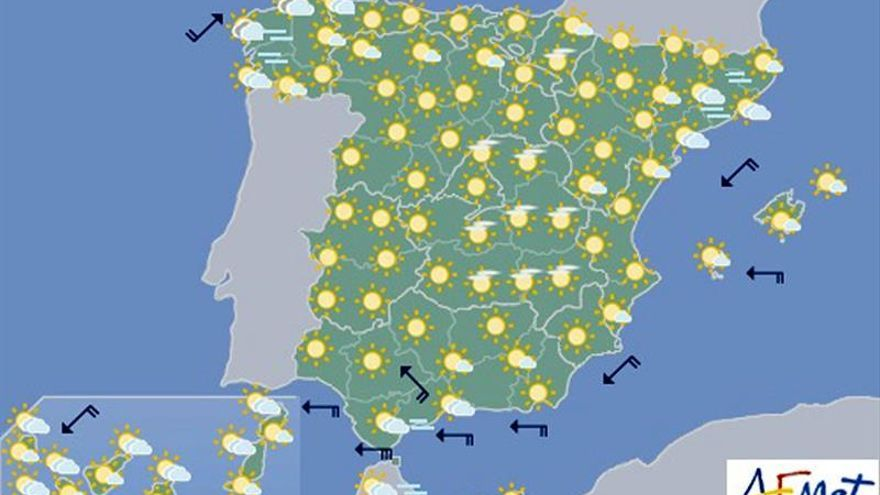 Las temperaturas suben hoy en gran parte del país