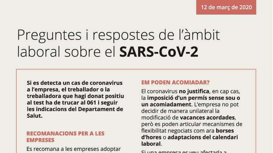 Preguntes i respostes de l'àmbit laboral sobre el SARS-CoV-2