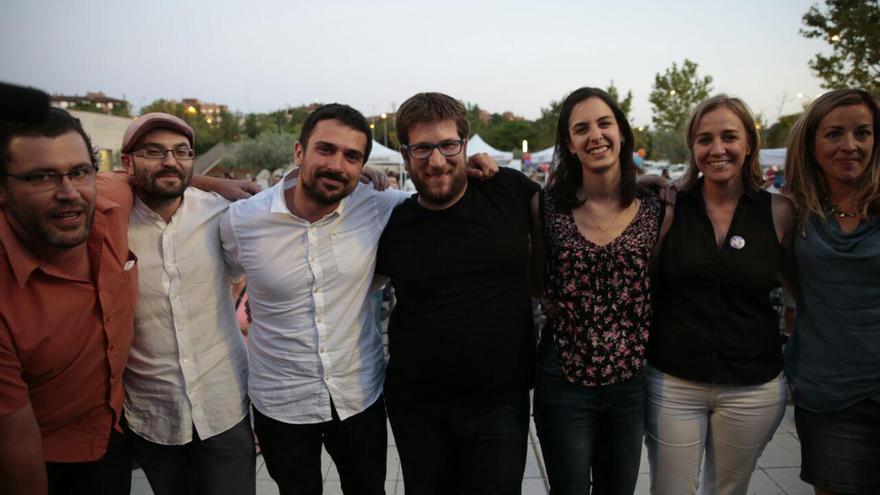 De derecha a izquierda del lector, Tania Sánchez, Rita Maestre, Miguel Urbán y Ramón Espinar, en la campaña del 26J.