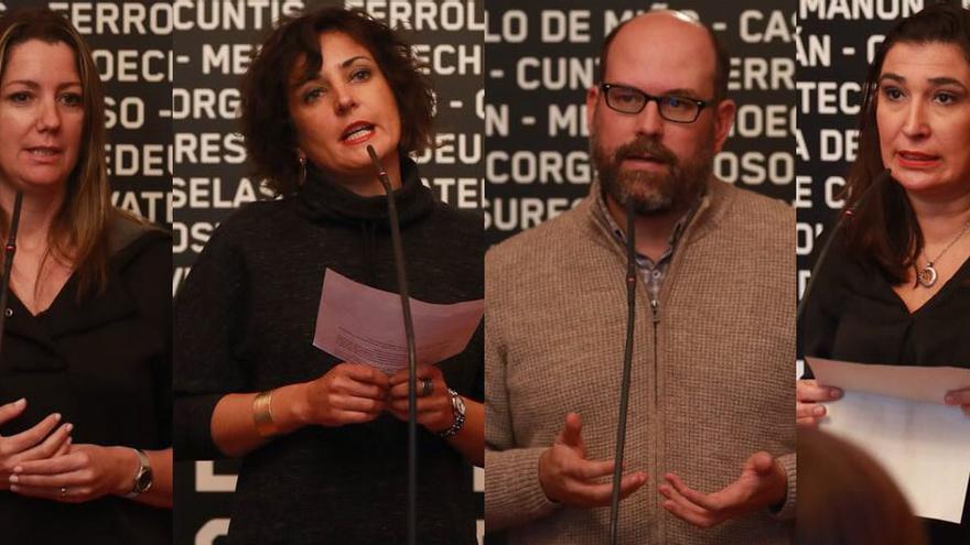 Las alcaldesas de Lugo, Tomiño y Sarria y el alcalde de Santiago, en la presentación de la campaña