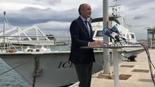 El expresident Francisco Camps durante la rueda de prensa realizada en la Marina de Valencia