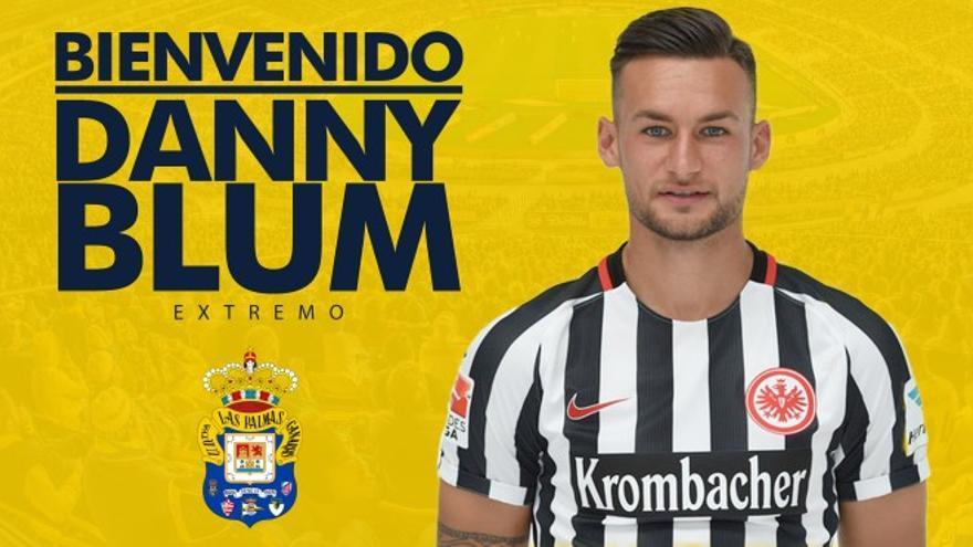 Cartel de bienvenida publicada por la UD Las Palmas con motivo de la cesión de Danny Blum. UD Las Palmas