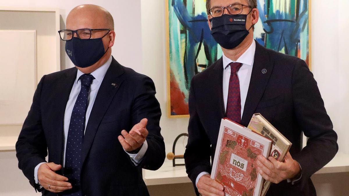 El presidente de la Deputación de Ourense y del PP provincial Manuel Baltar (izquierda) con el presidente de la Xunta, Alberto Núñez Feijóo