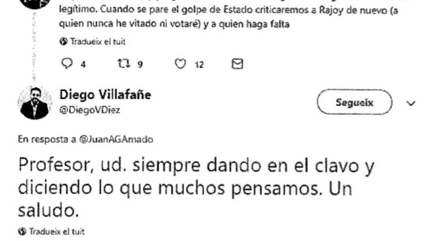 Tuit del fiscal incluido en el escrito de los heridos