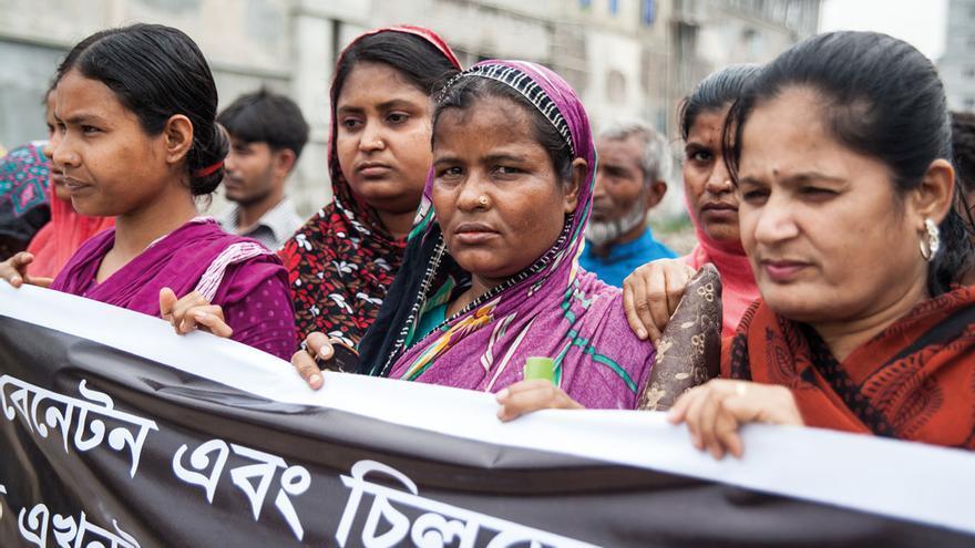 Protesta de trabajadoras del textil en Bangladesh.