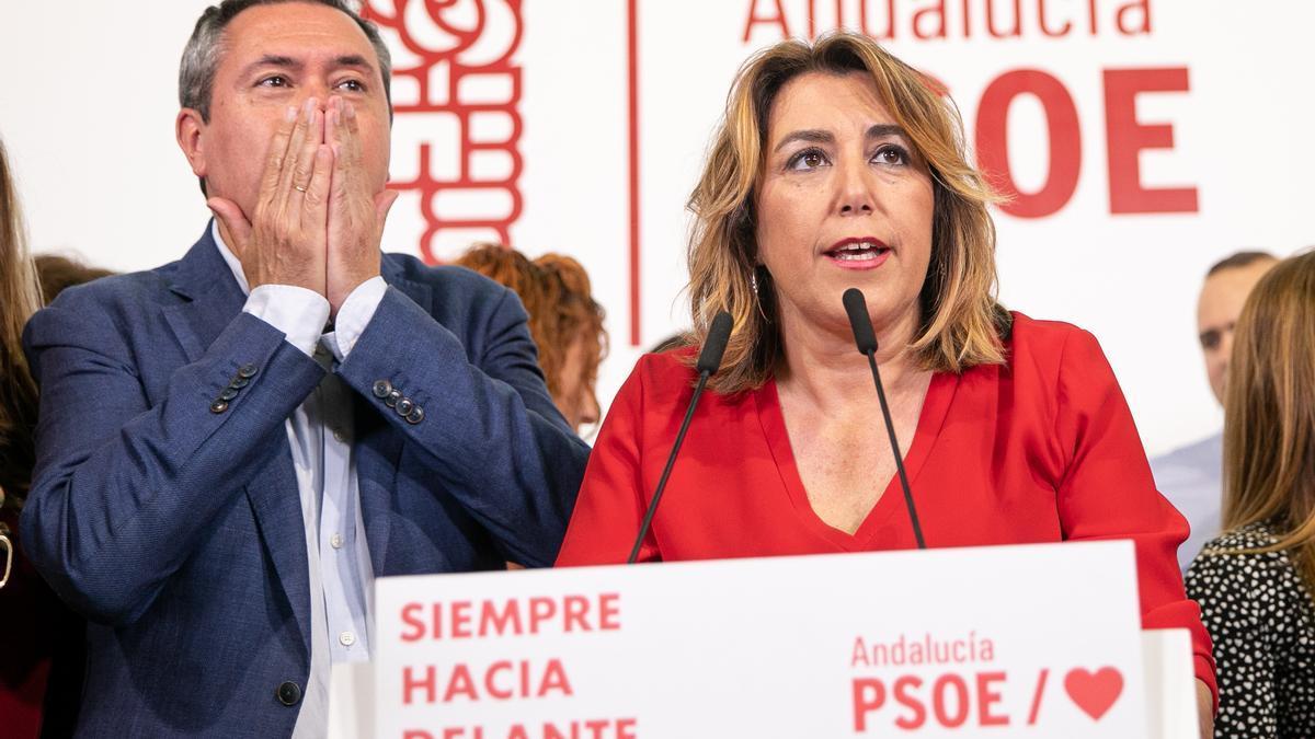 Susana Díaz y Juan Espadas en la sede del PSOE de Andalucía