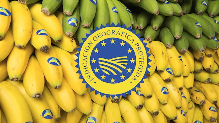 Imagen promocional del plátano de Canarias con sello de calidad IGP
