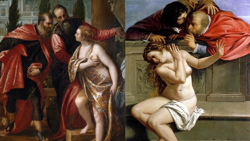 'Susana y los viejos', versiones de Paolo Veronés (1528, Museo del Prado) y Artemisia Gentileschi (1610)