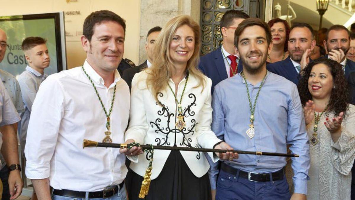 Ignasi Garcia (Compromís), Amparo Marco (PSPV) y Fernando Navarro (Unides Podem), representantes de l'Acord de Fadrell de Castelló.