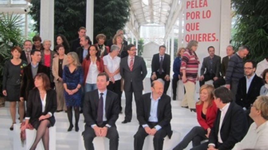 Gómez Y Rubalcaba Antes De La Presentación De La Candidatura Por Madrid