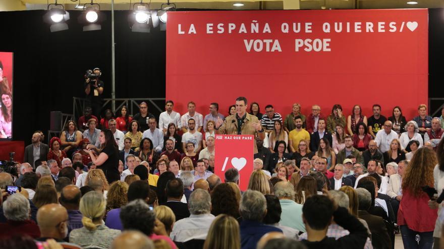 Pedro Sánchez, en el mitin celebrado en Las Palmas de Gran Canaria