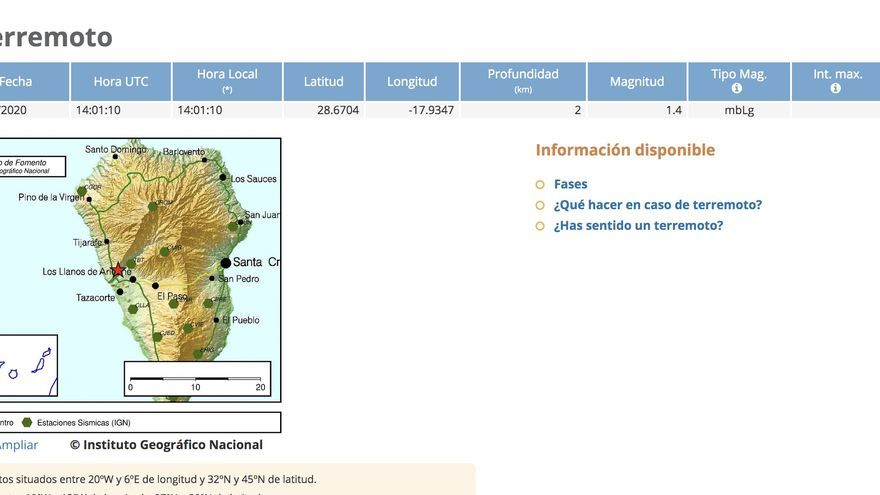 Mapa del IGN con los datos del pequeño terremoto que se ha registrado este  jueves, 23 de enero, en el Barranco de Las Angustias..