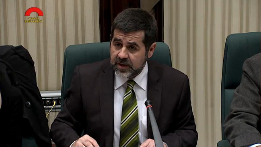 Jordi Sánchez durant una intervenció al Parlament de Catalunya com a adjunt al Síndic de Greuges
