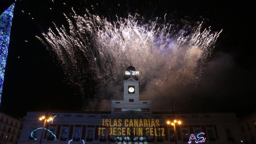 Campanadas de Canarias en la Puerta del Sol de Madrid,