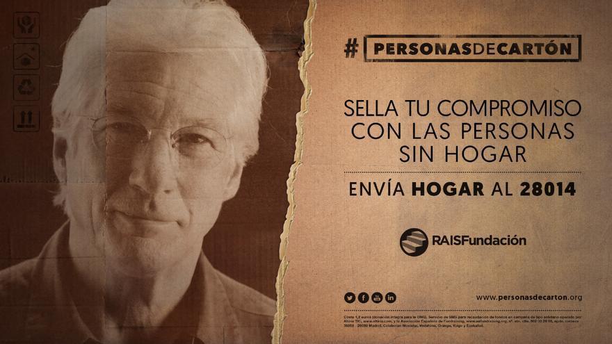 #personasdecarton es la iniciativa en favor de la gente sin hogar a la que Richard Gere ha cedido su imagen