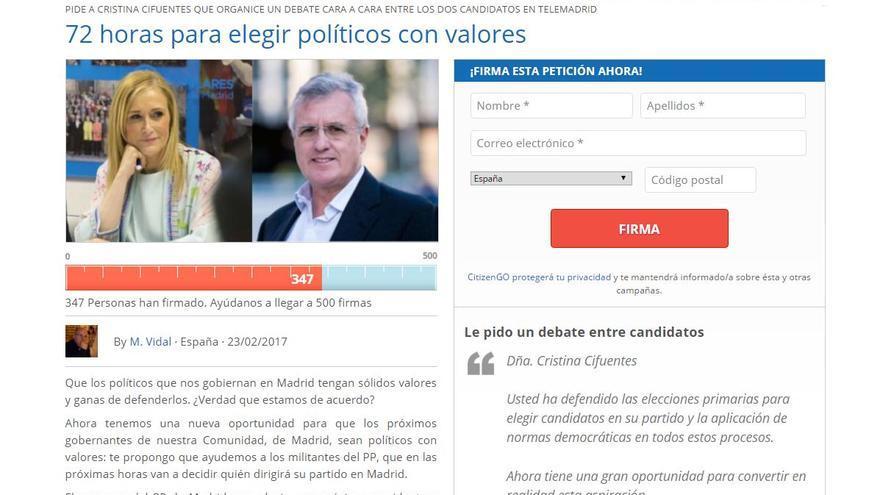 Página de hazteoir pidiendo un debate entre Luis Asúa y Cristina Cifuentes
