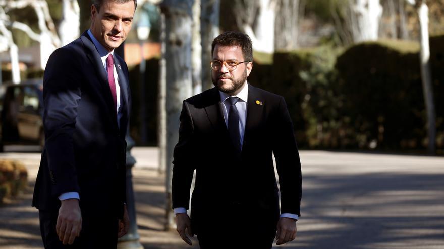 El presidente del Gobierno, Pedro Sánchez, con el president de la Generalitat, Pere Aragonés, en una imagen de archivo.