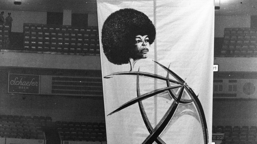 June 29, 1972 - New York, NY, U.S. - Political activist ANGELA DAVIS speaks at an event at Madison Square Garden inside a cage made of bullet proof glass.
