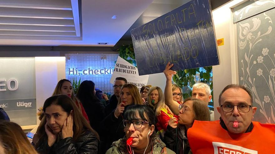 Protesta del pasado 19 de diciembre en la sede de eDreams en Barcelona