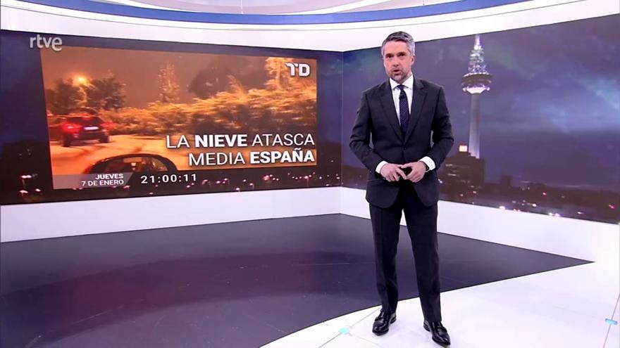 Carlos Franganillo, en el 'Telediario' de este viernes 8 de enero