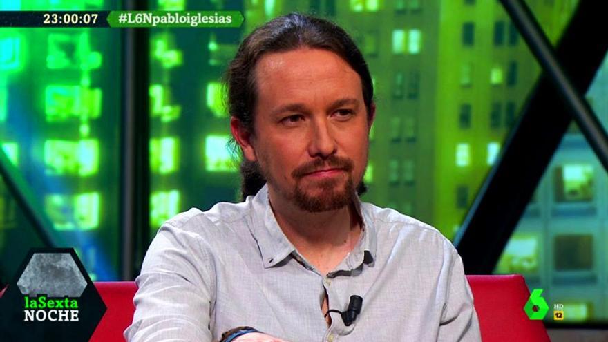 Pablo Iglesias, durante su entrevista en laSexta Noche