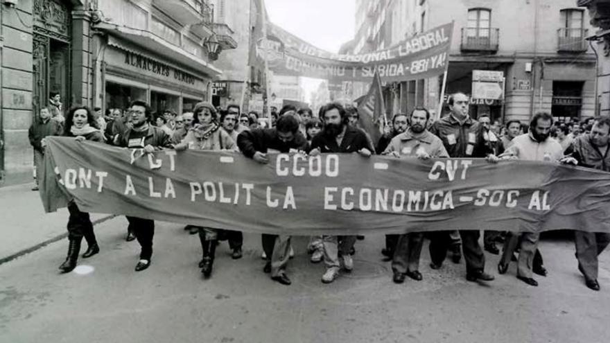 Manifestación en Palencia el 14 de diciembre de 1988.