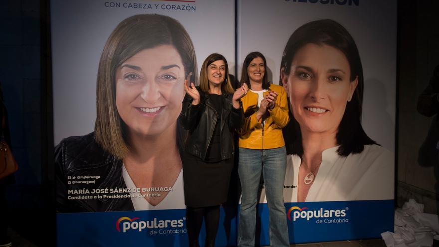 María José Sáenz de Buruaga y Gema Igual en el arranque de campaña.